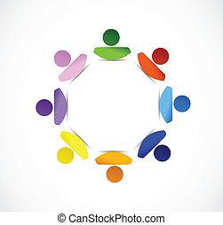 概念, 多様性, イラスト, 人々