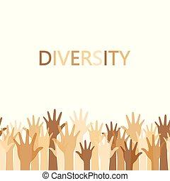 概念, 多様性, テキスト, の上, 手, デザイン