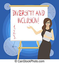 概念, 多様性, ビジネス, テキスト, inclusion., 執筆, 範囲, レース, 単語, huanalysis, gender., 相違, 含む, 民族性