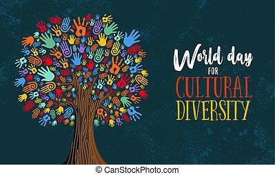 概念, 多様性, 木, イラスト, 手, 文化, 日