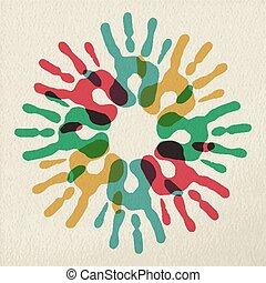 概念, 多様性, 色, チームワーク, 手, グループ