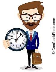 概念, 大, clock., 藏品, 時間, 商人, management., 愉快