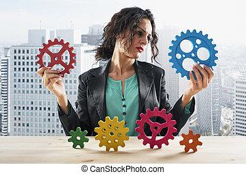 概念, 女性実業家, 仕事, 協力, tries, チームワーク, gears.