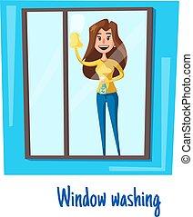 概念, 妇女, 洗涤, 房子, 窗口, 矢量, 打扫
