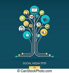 概念, 媒体, 抽象的, 木, バックグラウンド。, 成長, 社会