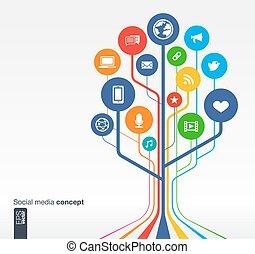 概念, 媒体, 木, 成長, 社会, netwok