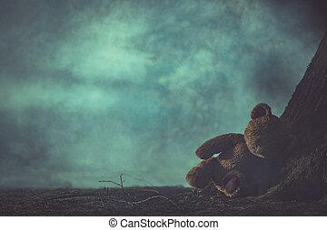 概念, 子供, 暗い, 熊, 濫用, forest., 霧が濃い, 失われた, テディ