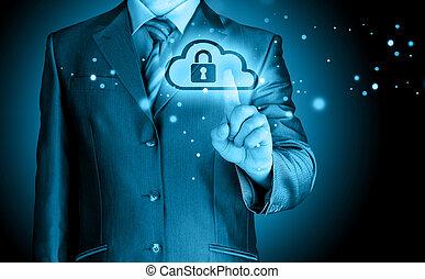 概念, 安全である, ビジネス, 計算, オンラインで, 雲, 人