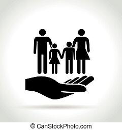 概念, 家庭, 手, 图标