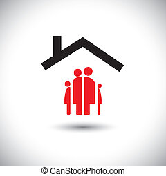 概念, 家庭,  &, 矢量, 家, 圖象, 愉快