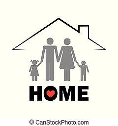 概念, 家庭, pictogram, 屋頂, 在下面, 家