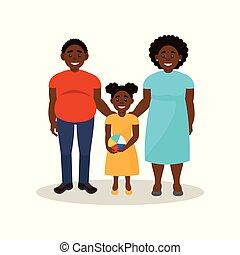 概念, 家族, イラスト, アメリカ人, ベクトル, 黒い背景, 衣類, 白, アフリカ, 偶然, 幸せ