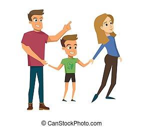 概念, 家族, イラスト, ベクトル, 漫画, 幸せ