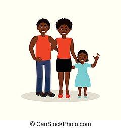 概念, 家族, イラスト, 偶然, アメリカ人, ベクトル, 黒い背景, 衣類, 白, アフリカ, 幸せに微笑する