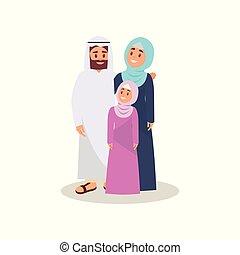 概念, 家族, イラスト, muslim, 伝統的である, ベクトル, 背景, アラビア, 衣類, 白, 幸せ