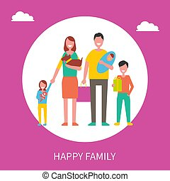 概念, 家族, 出費, 一緒に, ベクトル, 時間, 幸せ