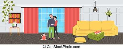 概念, 家族, 現代, 新生, 暮らし, わずかしか, 床, 父, 見る, 親, 内部, 幸せ, フルである, モデル, 母, 親であること, 赤ん坊, 横, 子供, 部屋, 遊び, 長さ, 包含, 楽しみ, 持つこと