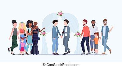 概念, 家族, 祝う, フルである, weds, 地位, 同じ, の後ろ, 新たに, 幸せ, 平ら, 同性愛の カップル, 特徴, 結婚式, 花, 横, アーチ, 漫画, 性, 結婚されている, 長さ, ゲイ, マレ