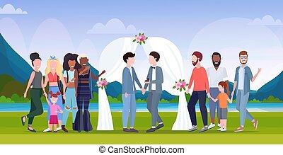 概念, 家族, 祝う, フルである, weds, 風景, 地位, 同じ, の後ろ, 新たに, 幸せ, 平ら, 同性愛の カップル, 背景, 結婚式, 花, 横, アーチ, 性, 結婚されている, 長さ, ゲイ