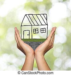 概念, 家, シンボル, 手, relations., 広告, ビジネスマン, 公衆