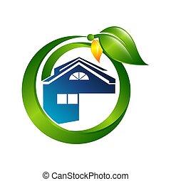 概念, 家, 創造的, デザイン, テンプレート, ロゴ, 緑