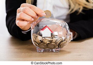 概念, 家, 節約, 買い物