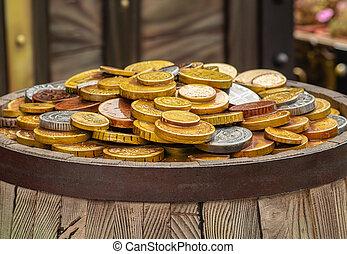 概念, 富, 金, 木製である, コイン, たくさん, 樽