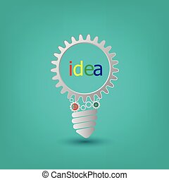 概念, 工作, 嵌齒輪, 相片, 想法, 一起, 齒輪, 背景, 燈泡