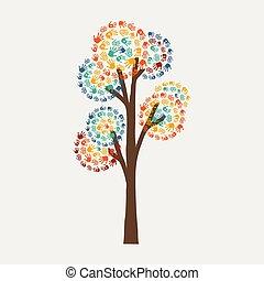 概念, 幫助, 樹, 社區, 手拷貝