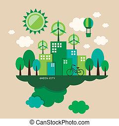 概念, 平ら, エコロジー, デザイン, イラスト