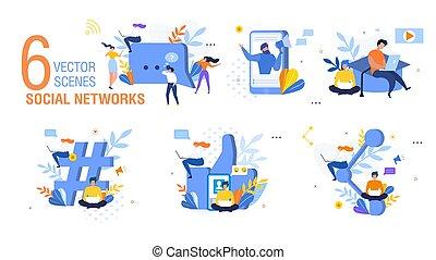 概念, 平ら, 人々, セット, ネットワーク, 社会, ベクトル
