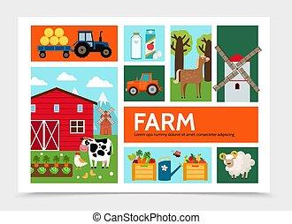 概念, 平ら, infographic, 農業