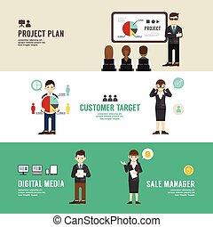 概念, 平ら, partnership., セット, ビジネス 人々, 成功, イラスト, プレゼンテーション, セール, ベクトル, 計画, icons., ポジション, デザイン, マネージャー, ミーティング
