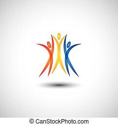 概念, 幸せ, うれしい, 人々, -, 一緒に, ベクトル, アイコン, 跳躍