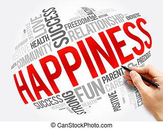 概念, 幸福, コラージュ, 単語, 雲