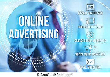 概念, 広告, オンラインで