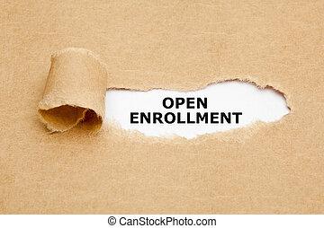 概念, 引き裂かれた, enrollment, ペーパー, 開いた