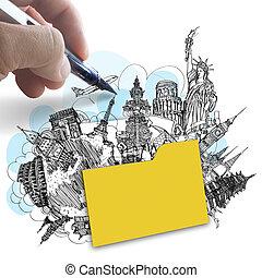 概念, 引く, のまわり, 成功, 旅行, 手, 世界, フォルダー, 夢