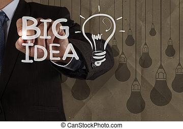 概念, 引く, ライト, 封筒, 考え, 手, 背景, 大きい, リサイクルしなさい, ビジネスマン, 創造的, 電球