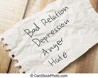 概念, 引用, ひどく, 関係, 言葉, 怒り, 憎悪, 憂うつ