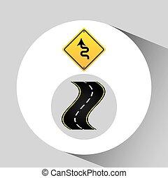 概念, 彎曲, 圖表, 路標