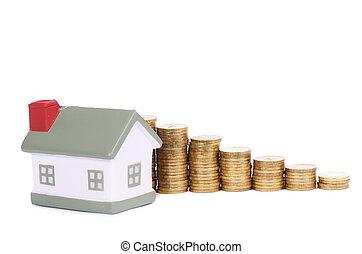 概念, 形態, 家, コイン, diagram., 小さい, おもちゃ