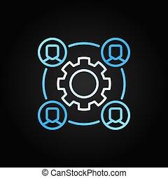 概念, 彩色, outsourcing, 矢量, 图标, 银, 齿轮
