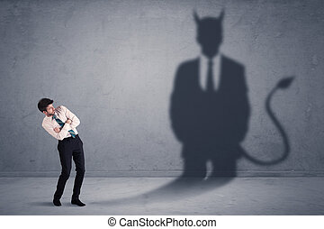 概念, 彼の, 事業を所有しなさい, 悪魔, 見る, 悪魔, 影, 人
