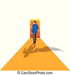 概念, 彼の, 立つ, ビジネス, goal., -, ベクトル, 矢, 動く, リーダー, illustration.