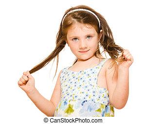 概念, 彼女, 若い, 長い間, 隔離された, 毛, 保有物, 肖像画, 女の子, 白, 心配
