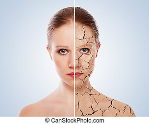 概念, 後で, 若い, 顔, 効果, 女, 化粧品の 処置, 皮膚, care., プロシージャ, 前に