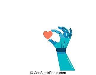 概念, 心, 知性, 手, ロボティック, 感情的, 赤