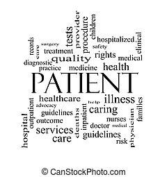 概念, 患者, 黒, 単語, 白い雲