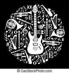 概念, 愛, イラスト, 黒い背景, 音楽, 白